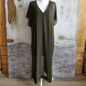 Zara long sheer tunic dress over short liner NWOT